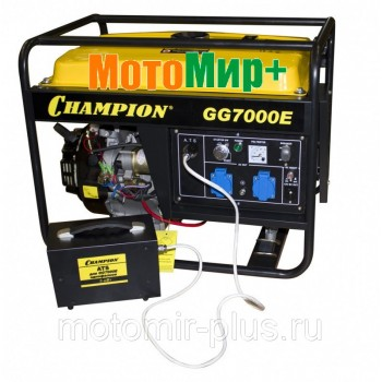 Генератор Champion GG 7000E ATS+газоотвод (5/5,5кВт OHV 13лс 25л 77кг 2,8л/ч 12V эл.старт колеса)